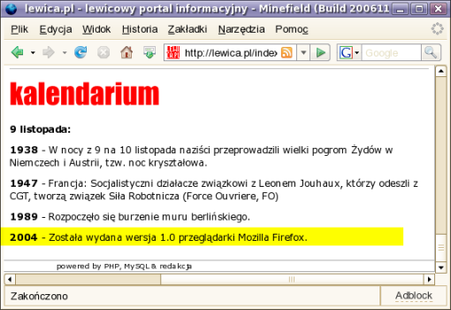 Firefox w kalendarium lewica.pl
